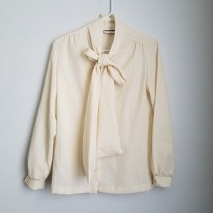 Vintage Jack Winter ivory front bow blouse